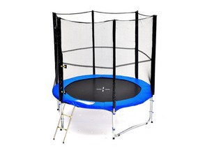 LifeStyle ProAktiv - Trampoline avec filet 245 cm - 8ft - Échelle - Bâche de Protection - Set de Ancrage - Capacite 150kg - Edition 2017